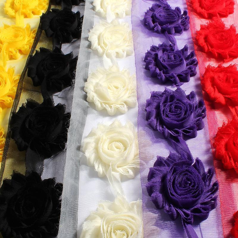 """Acessórios de cabelo 50yards / lote 2.6 """"15Corors moda chique chifby chiffon flores para crianças 3d tecido headbands"""