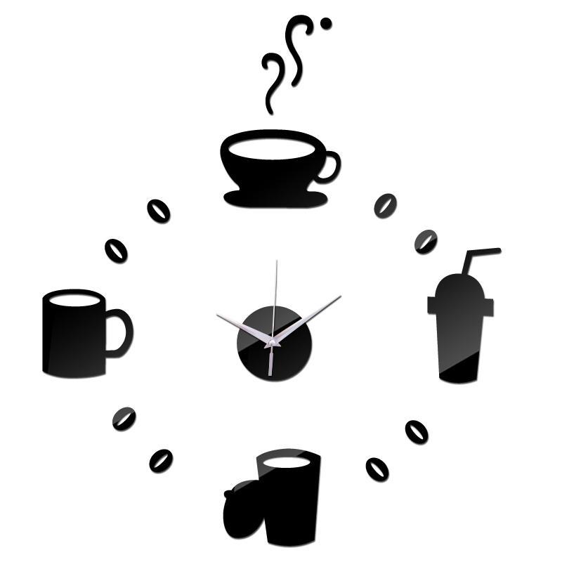 2015 yeni duvar saati Modern Akrilik ayna diy saatler Salon 3d horloge murale Çıkartma relogio de Parede Kupalar izlemek kuvars