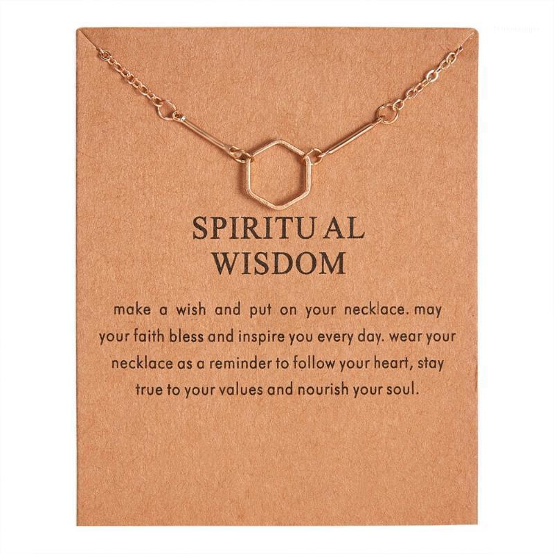 Anhänger Halsketten Mode 2021 Gold-Farbe Knochen Halskette Spirituelle Weisheit Sechseckige Legierung Clavicle Kurzfrauen Geschenk1