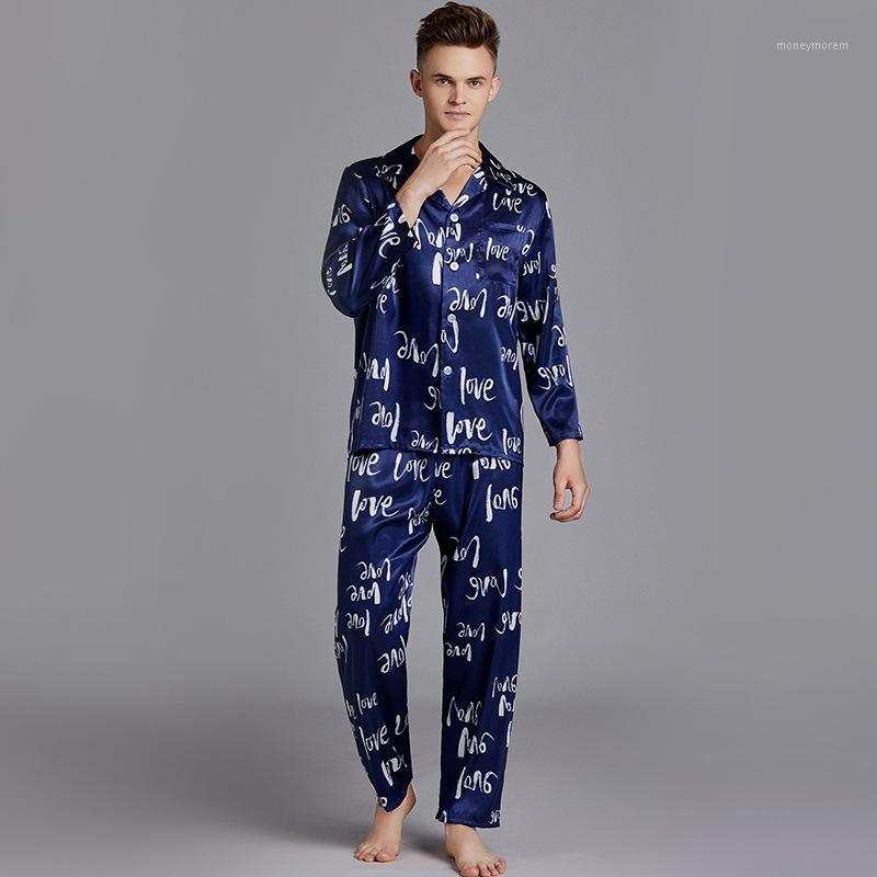 Мужские спящие одежды Pajamas мужской длинный рукав шелковый летний кардиган дом носить большой размер костюма мужчины 17581