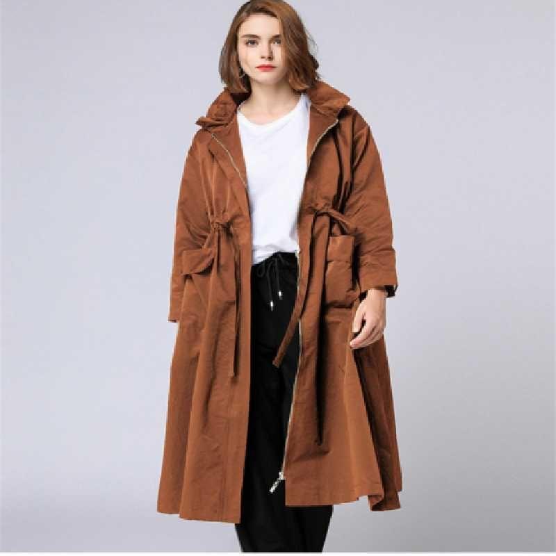 Parabrisas de mujer de gran tamaño mediados de la longitud 2020 otoño nuevo flojo show fino abrigo