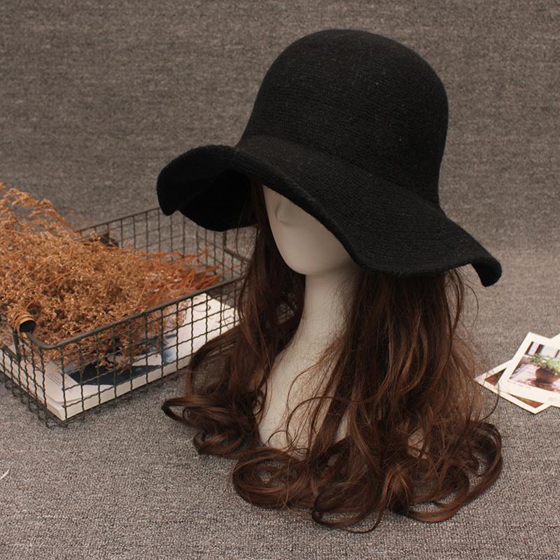 Neue elegante Schafe Wollkappe Strick Big Krim Fedora Hut Winter Dicke Weibliche Mode Winter Hut Zubehör T200104