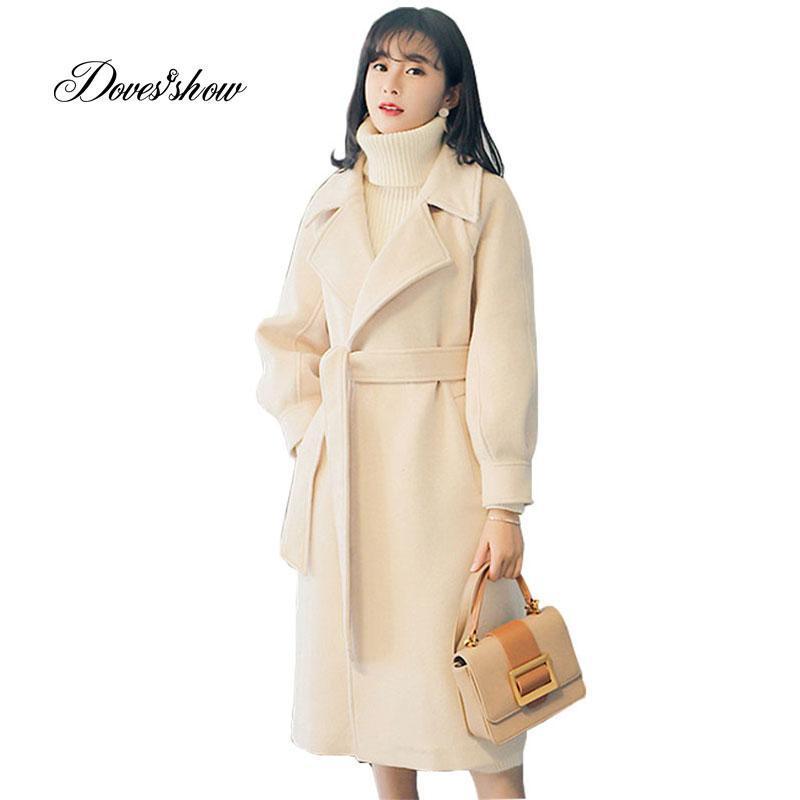 Las mujeres del otoño del invierno del cabo capa de la chaqueta larga solo pecho abrigo de lana con cinturón Mujer Casaco Femenino Mujer Chaqueta Mezclas Outwear
