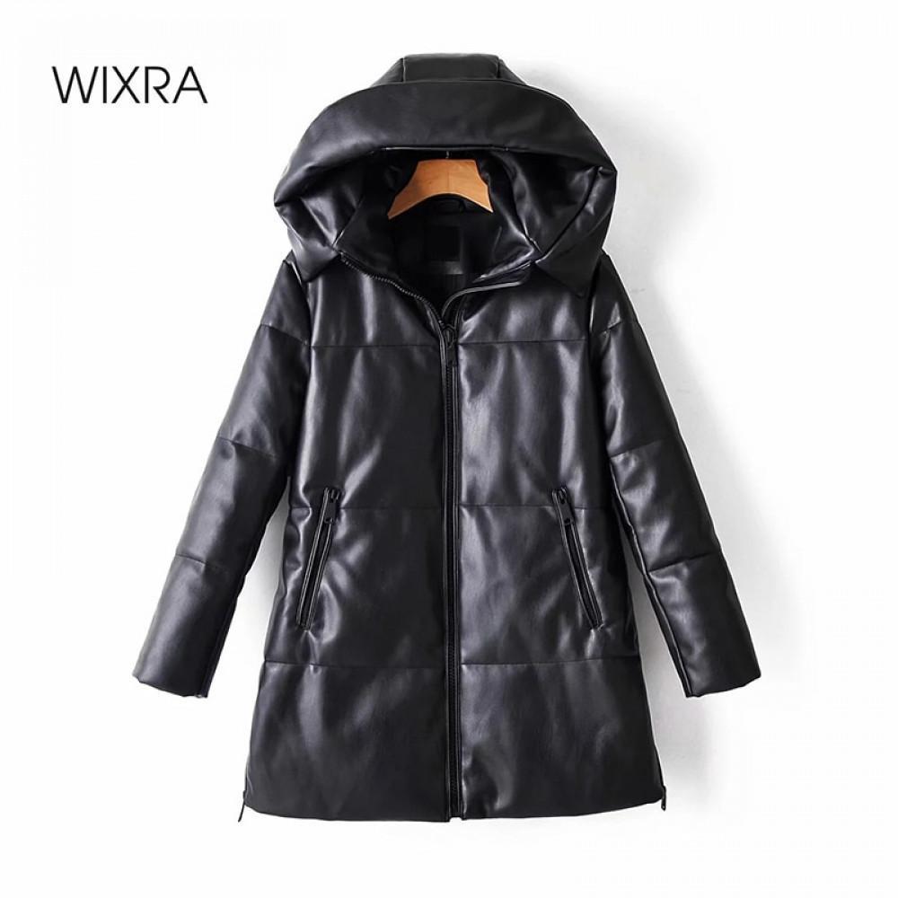 Wixra Katı PU Deri Pamuk Ceket Kapşonlu kadın Moda Deri Uzun Mont Bayanlar Su Geçirmez Kalın Ceketler Kadın Kış 201029