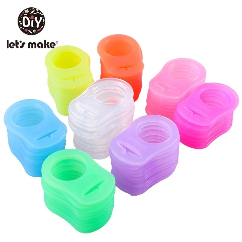 Hagamos BPA gratis 50 unids bebé silicona bebé pacificador mami maniquí cadena titular pacifier clip adaptador anillos coloridos perlas de dentición 201123