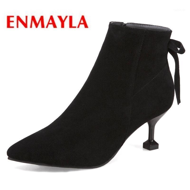 Enmayla Moda Temel Sivri Burun Bayan Ayakkabı Zip Ayak Bileği Çizmeler Kadın Botas Mujer Invierno Kadın Ayakkabı Boyutu 34-39 LY2351