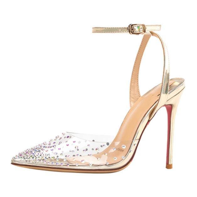 جديد إمرأة أحمر أسفل عالية الكعب البلاستيكية الجلود ستراس حجر الراين الفم الضحلة الأحمر باطن حذاء الزفاف أحذية الزفاف مؤتمر اصبع القدم الأحذية