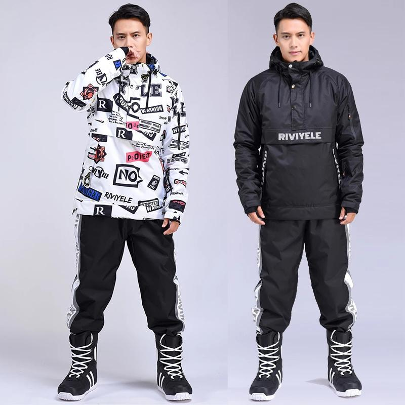 New Winter Men Ski Suit Ski Hoodie Set Warm Thermal Sports Windproof Waterproof Jacket And Pants Men's Skiing Snowboard Suits