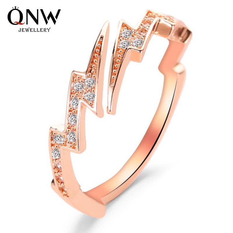 Hot selling jewelry creative irregular geometric zircon lightning open ring source hand jewelry wholesale