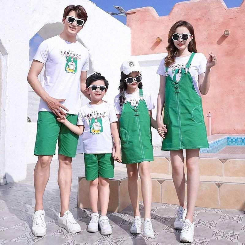 Pares de la manera ropa papá Summer Son camiseta blanca + Verde Juego Corto mamá hija camiseta y vestido a juego del juego de la familia de vestimenta Partido a5D9 #