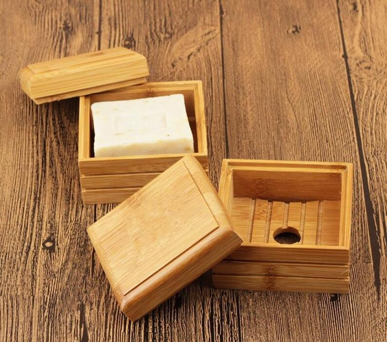 50pcs Soap Bamboo Natural Dish Soap Tray Titular Sabão rack de armazenamento Placa Box Container para Bath Shower Placa Casa de Banho