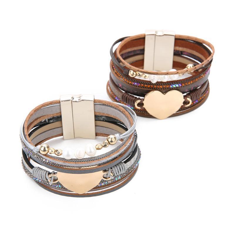 многослойная разноцветная кожа широкий браслет для женщин длиной 19cm новых браслетов Lacoogh браслет роковых ювелирных изделий