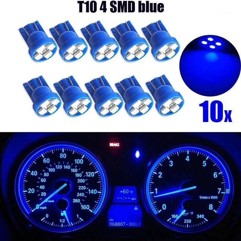 Acil Durum Işıkları 10/20 adet Set Araba LED Işık T10 4SMD 1210 Kama Dashboard Ölçer Küme Ampul Mavi Aksesuarları Mallar1