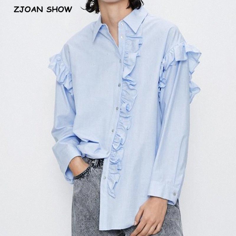 2020 2020 Yeni Gök Mavisi Dikiş Ruffles Uzun Kollu Gömlek Poplin Vintage Puff Uzun Kollu Tek Breasted Düğme Bluz Gevşek WqMB # Tops