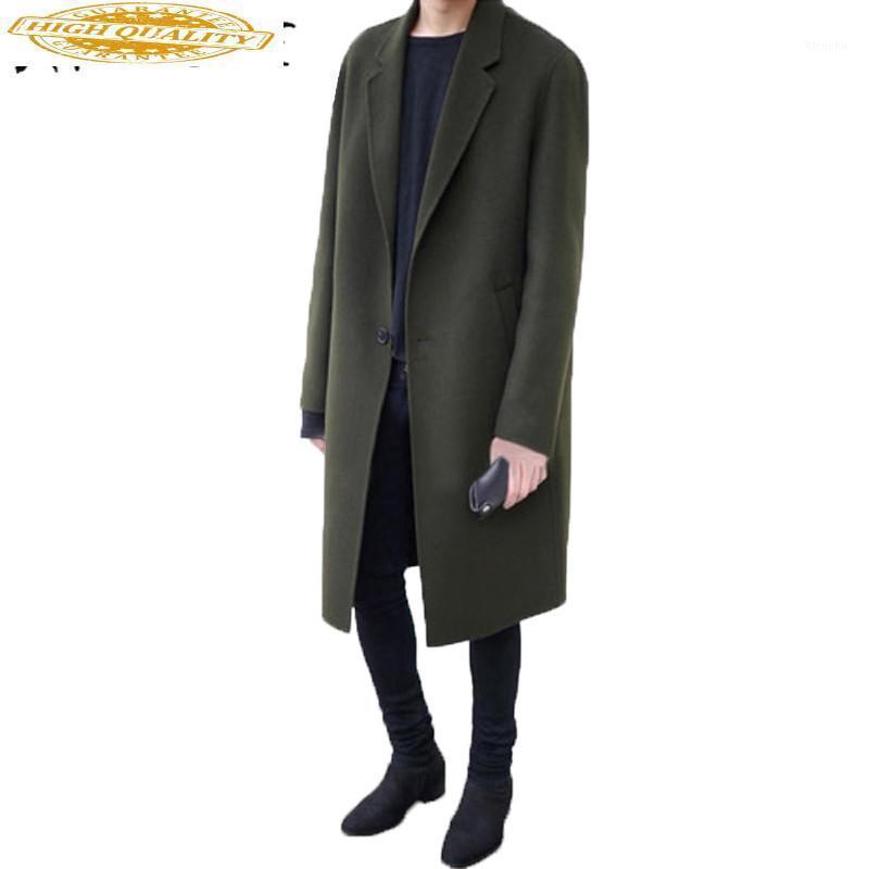 Мужская шерстяная смесь на 50% -69% мужской кашемировой пальто разворотный воротник мужская зимняя куртка длинная толстая мужская одежда пальто wuj10901