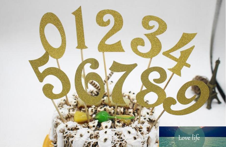 10pcs (0-9) Gold Silver Glitter Números personalizado da festa do aniversário do queque do bolo de casamento Kit Decorações