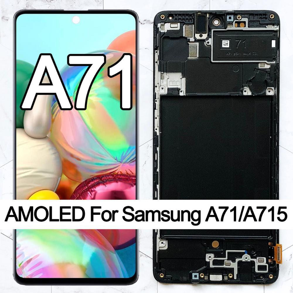 """6.7"""" Original AMOLED For Samsung Galaxy A71 LCD Touch Digitizer Sensor Glass Assembly Display A715 A715F A715FD"""
