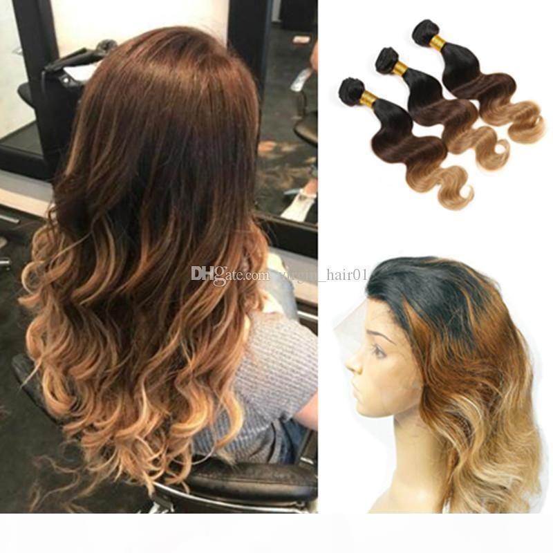 Три тональные наращивания волос с 360 кружевной полосы Frontal Happle # 1b 4 27 27 Медовая блондинка Ombre Body Wave для волос человека с 360