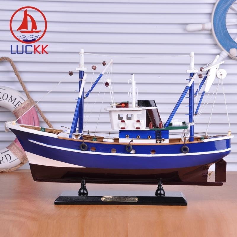 LUCKK 45CM DIY деревянного корабля Рыбалка синего Домашнее украшение море Стиль офис Дерево Для ремесла парусная модели Подарочные сувениров