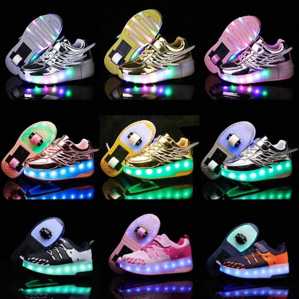 Due ruote Sneakers luminose blu rosa Led Roller Skate Scarpe da skate per bambini Bambini Led Scarpe Ragazzi Ragazze accende 28-42 # 224E