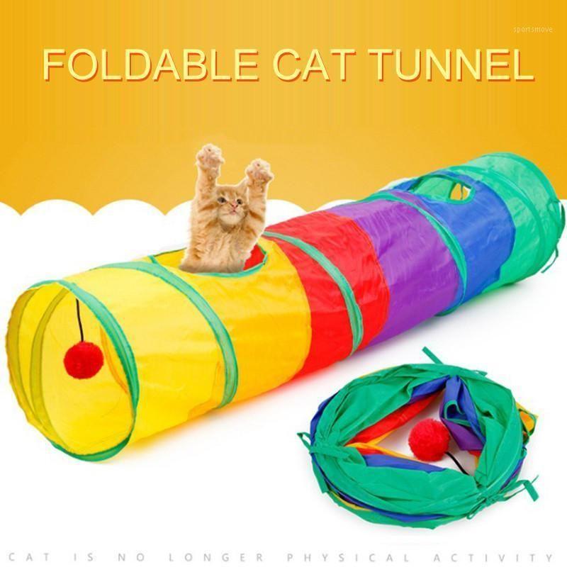 Cat Toys Pet Tunnel Смешная игра Пещера Радуга коричневый складной 2 отверстия котенка оптом игра1
