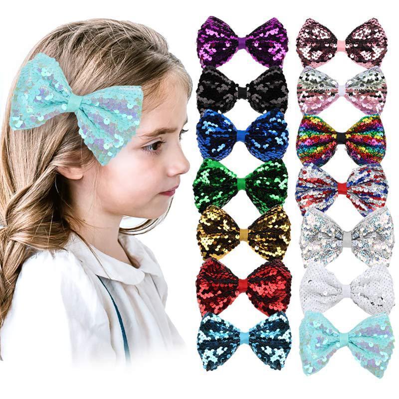 14 Designs Archivi a 4 pollici Bows Girls Torcineria Seqiun Barrettes Bambini Arco Accessori per capelli Principessa Bow Paillettes Bling Capelli Clip M3210