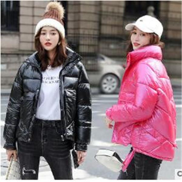 Vestiti di inverno breve collare stand-up loose thick pane giacca vestiti cappotto imbottito giacca calda nuove donne luminoso volto Cappotti Parka