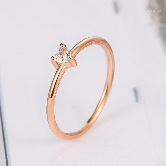 Anneaux de mariage Simple Rose Gold Color Coeur en forme de Femme Minimaliste Sweet Cubic Cubic zircon mince bijoux1