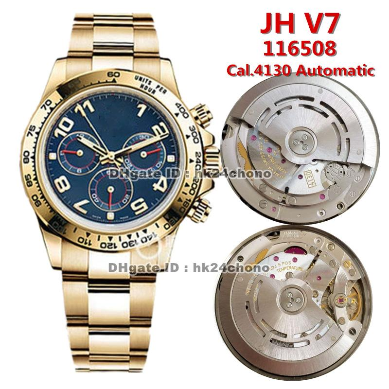 12 estilos de alta calidad JH V7 40mm Cal.4130 Chronograph Mens Reloj automático 116508 Blue Dial 18k Pulsera de oro amarillo Gents Relojes