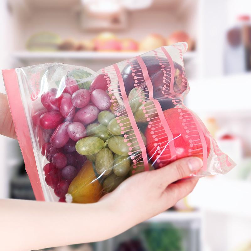 50PCS Reusable Fresh Zipper Bag Freezing Heating Saran Wrap Storage Bag Versatile Vacuum Sealed Kitchen Accessories
