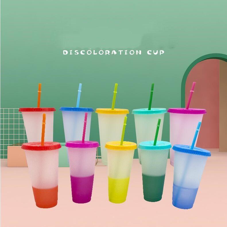 24 oz cambio de color de vasos para beber la taza mágica de plástico con tapa y paja reutilizable claro colores Copa fría de verano tazas de cerveza CCA12573 50pcs