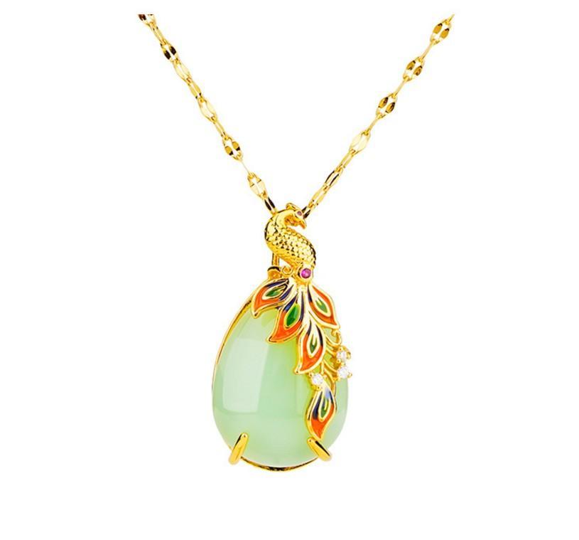 Art und Weise hochwertige natürliche Jade Inlay Gold bunten Pfau Anhänger up-market Geschenk