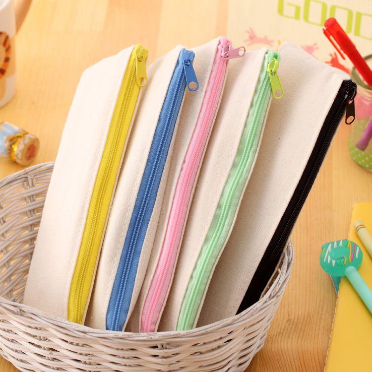 20,5 * 8.5cm DIY White Segeltuch leerer Ebene Reißverschluss Bleistift Stift Taschen Schreibwaren Hüllen Clutch Organizer Bag Geschenk Aufbewahrungstasche