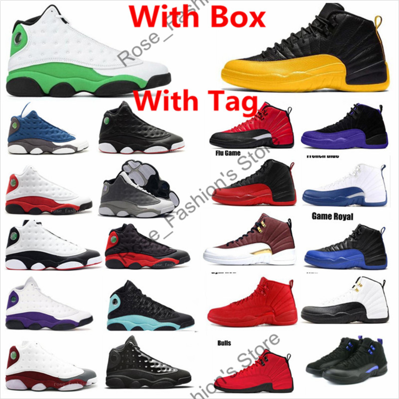 12 12s oscuro Concord Indigo negro oro universitario Negro juego real para hombre de los zapatos de baloncesto 13s 3M verde afortunado del pedernal al aire libre las zapatillas de deporte con la caja