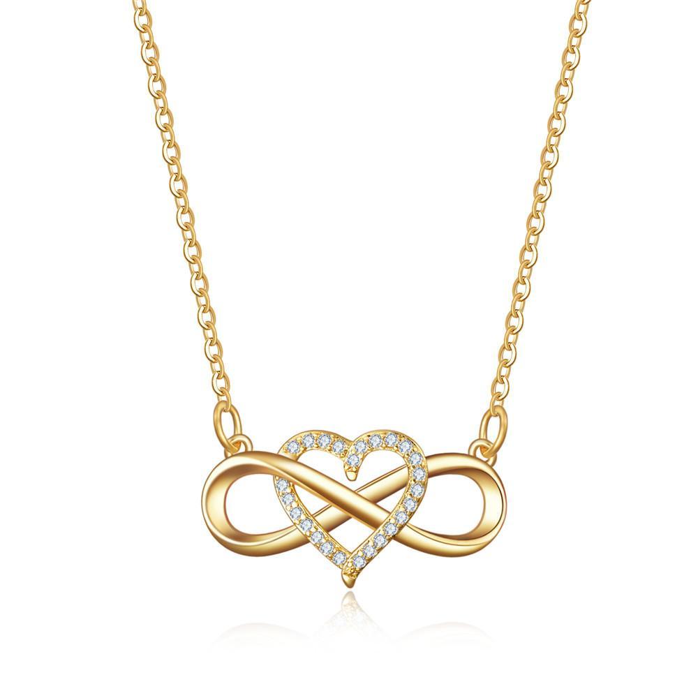 قلادة القلائد من الأزياء الإبداعية التعادل الحب القلب مايكرو البطانة سلسلة لانهائي الزركون ارتفع الذهب مطلي النحاس قلادة للنساء