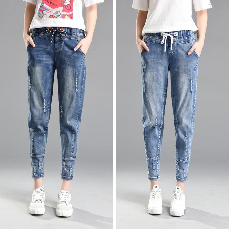 Jeans pour femme mi-taille femme jeans lâche petit ami pour le pantalon en jean plus taille des pantalons surdimensionnés Feminino