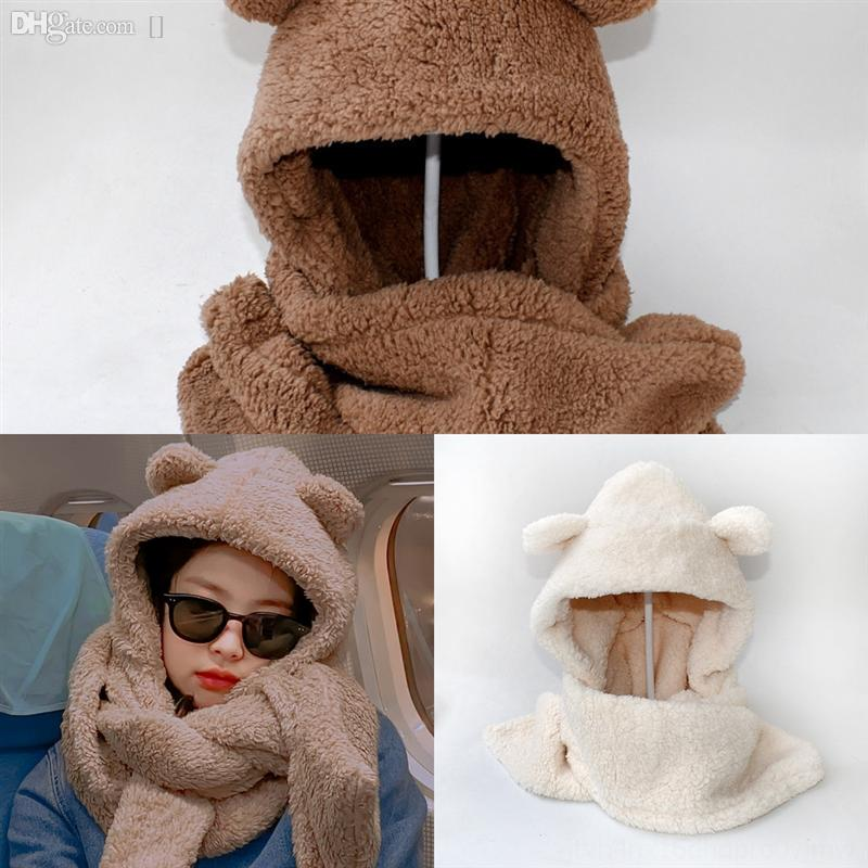 jhitd hiver chapeaux beaux écharpes met les femmes ensembles de capuchon fourrure chaude chapeau chapeau chapeau de peluche foulard set crochet capot de bonnet