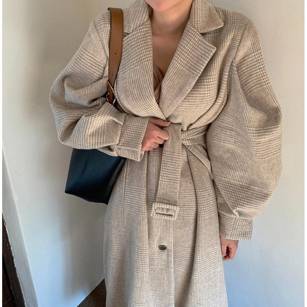 Capa de las mujeres de la manga de la linterna de invierno de lana gira el collar abajo solo pecho Plaszcze DAMSKIE más el tamaño de Manteau Femme Hiver 2020X1018