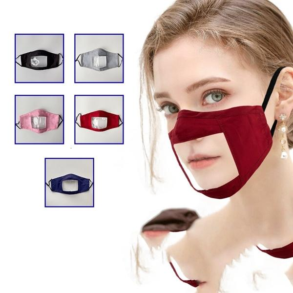 Moda máscara facial Protección de germen para adultos con la ventana clara visible la boca de algodón cara Maskswashable y reutilizable Maskking