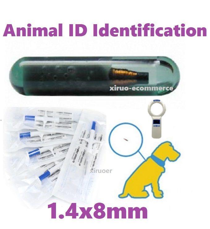 100SETS Non-Medical ID Transponder Syringe RFID inyector 1.4x8mm FDX-B Microchip para la identificación animal ISO 11784 para el control de acceso a mascotas