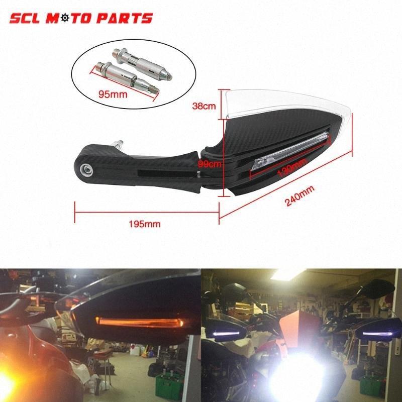Led ile ALconstar Yarışı Motosiklet Handguards El Muhafızları Scooter Pit Bisiklet ATV Dirt Bike MX Motokros UUiI # için LAMBASI Lights çevirin