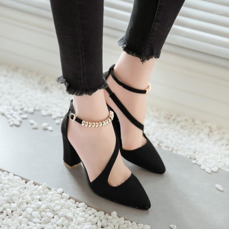 Elbise Ayakkabı Boy Bayanlar Yüksek Topuklu Kadın Kadın Bir-Word Toka Yüksek Topuklu Tek Kişi Pompaları1