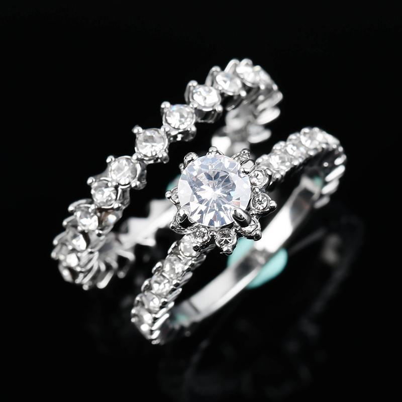 Paired Classic Wedding Bridal Ring Engagement Shiny Brilliant Crystal Stone Silver Plated Rings for Women Charm Jewelry Gift