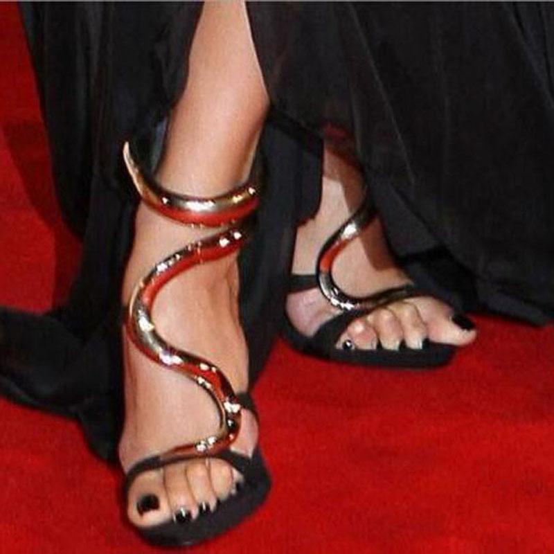 Altın Kaplama Dalga Dekor Stiltetto Topuklu Gladyatör Sandalet Kadınlar Peep Burun Geri Fermuar Parti Rahat Ayakkabılar Lady Cut-Out Kapak Topuklu