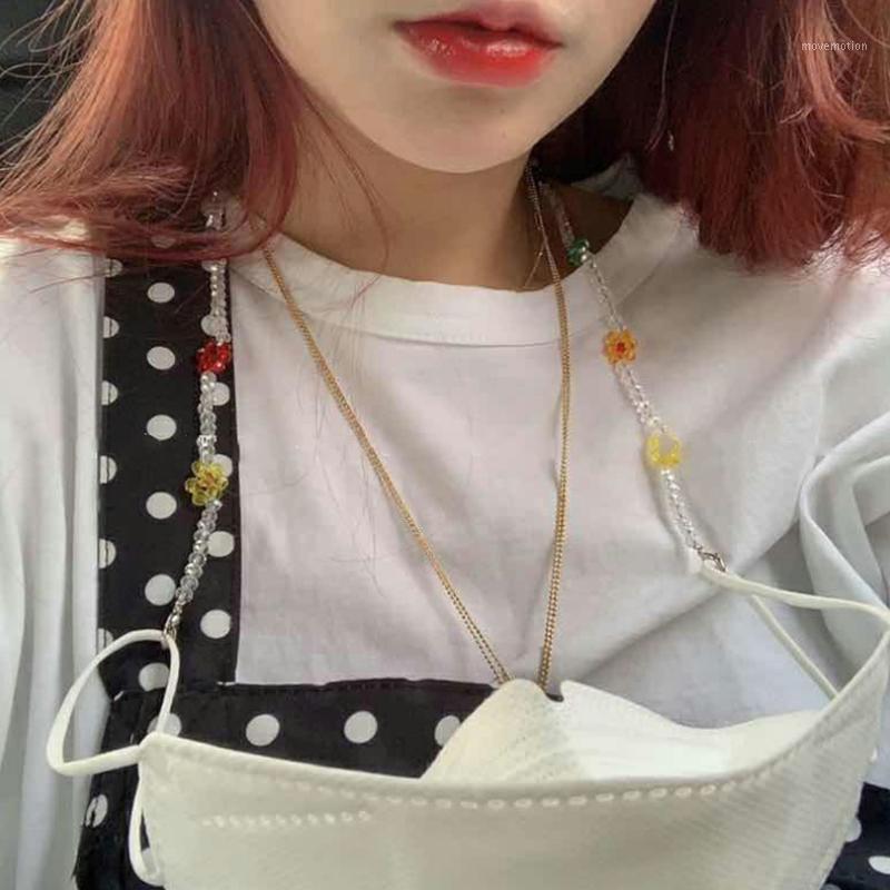 Aomu Boho Cadena de flores para la máscara Cadenas para mujer para la máscara Collar con cuentas Joyería Gargantilla Collares de moda coloridas 2020 Collares1