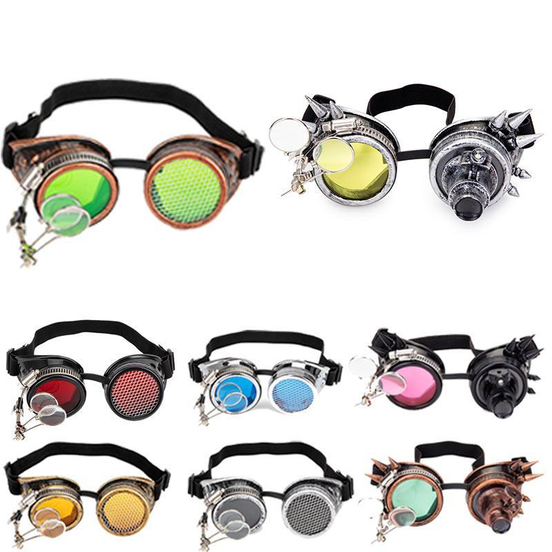 LELINTA Steampunk Goggles Cosplay Vintage Victorian Rivet Glasses Welding Gothic Kaleidoscope Colorful Retro Goggles
