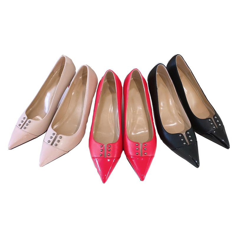New sexy pointed toe lady pumps 8cm stiletto heels solid color party women high-heeled shoes red sole large size 35-42