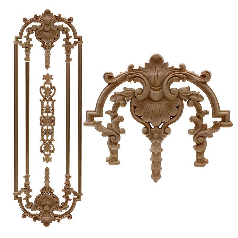 RUNBAZEF antiguos decorativos Apliques de madera para muebles Decoración puerta del gabinete irregular flor molduras de madera tallado Estatua