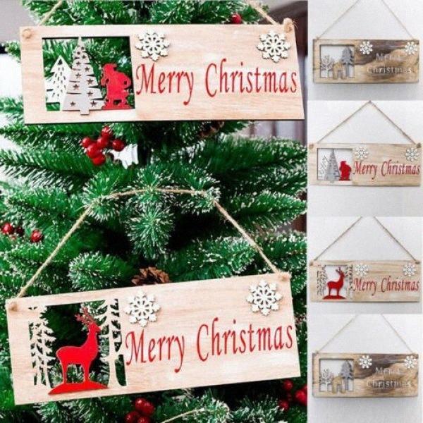 Рождество Красочный деревянный кулон двери украшения Висячие партии декора украшения VzVb #