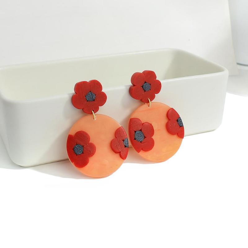 Lifefontier Kore 3D Etkisi Kırmızı Çiçekler Polimer Kil Bırak Küpe Kadınlar Için El Yapımı Yuvarlak Küpe Bildirimi Brincos Hediyeler